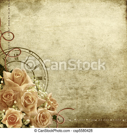 Retro vintage romantic background with roses and clock  - csp5580428