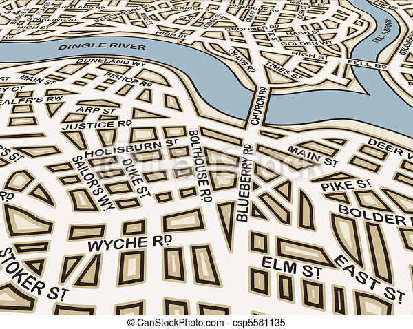 Clipart Vector of Generic streets - Editable vector street map of ...