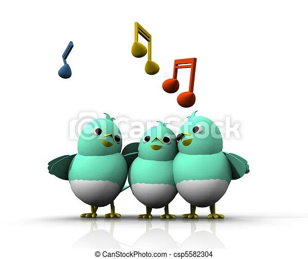 3D BIRD SING - csp5582304