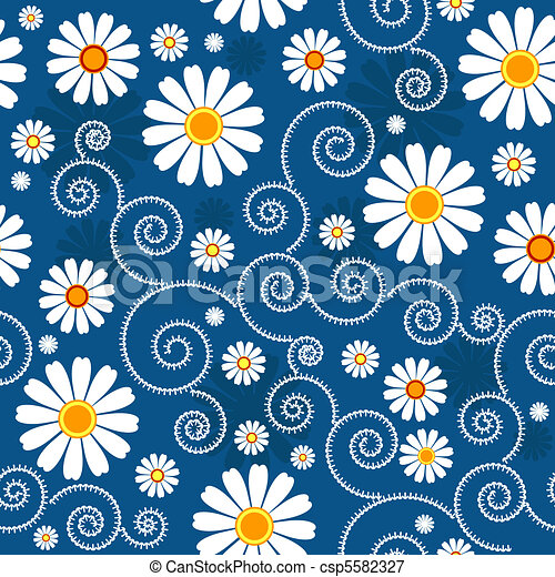 Dark blue floral pattern - csp5582327