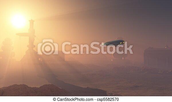 Dusty Landing on Mars Colony - csp5582570