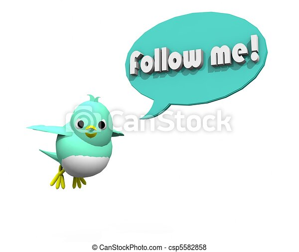 3D TWITTER BIRD FOLLOW  ME - csp5582858