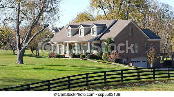 Elegant rural home resting on a large lot - csp5583139