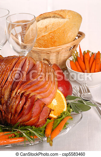 Honey and brown sugar glazed Easter ham - csp5583460