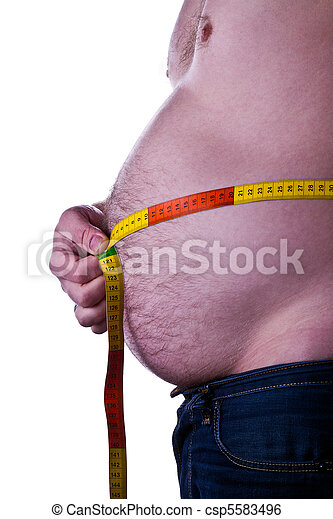 fat man holding a measurement tape  - csp5583496