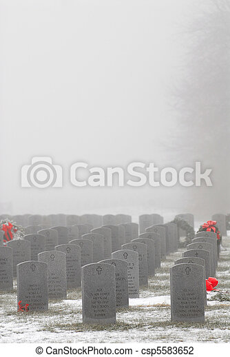 Grave markers of soldiers in a military cemetery - csp5583652