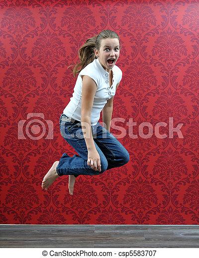 jumping girl - csp5583707