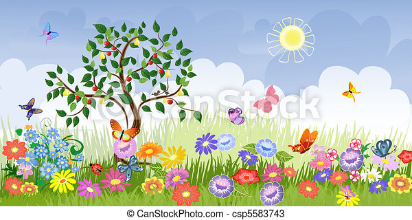 Summer landscape with fruit trees - csp5583743
