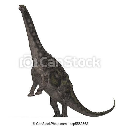Dinosaur Diamantinasaurus. 3D rendering and shadow over white - csp5583863