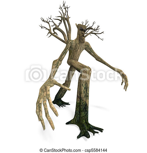 The Ent - Keeper of the forest. 3D rendering and shadow over white - csp5584144