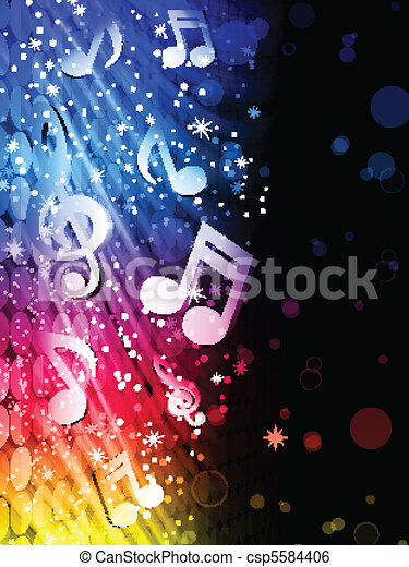 Vector - Party Abstract Colorful Waves on Black Background with Music Notes - csp5584406