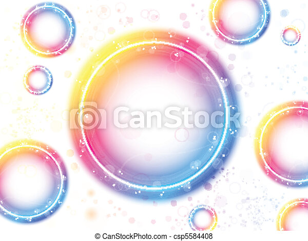 Rainbow Circle Bubbles background with Sparkles and Swirls. - csp5584408