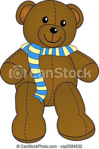 Cute teddy with scarf vector - csp5584532