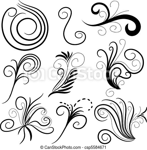 Vector clip art van krul vector black versieringen for Leuke versiering