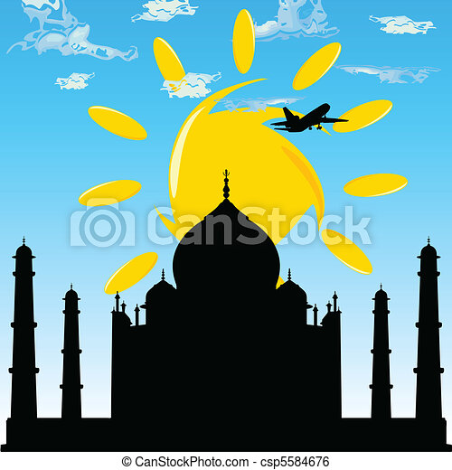 taj mahal with plane blue sky - csp5584676