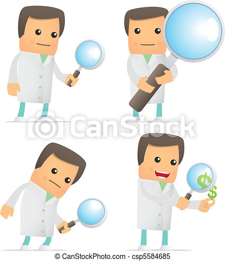 set of funny cartoon doctor - csp5584685