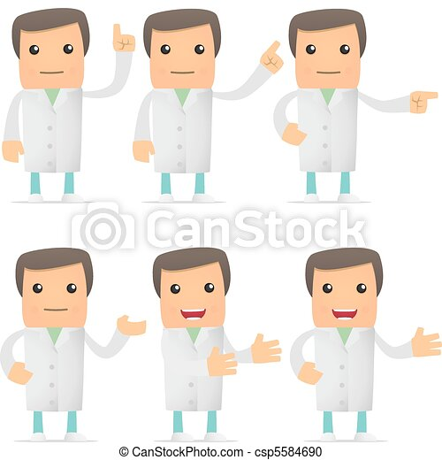 set of funny cartoon doctor - csp5584690