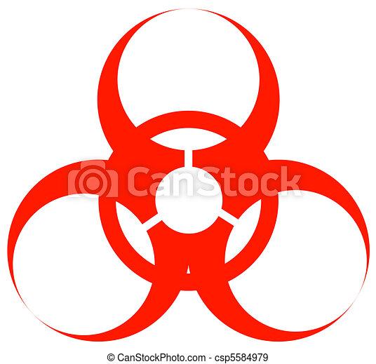 red biohazard warning sign - csp5584979