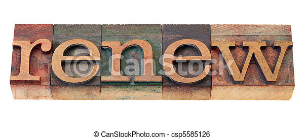 renew word in wood fonts - csp5585126
