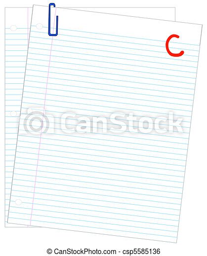 two sheets of lined paper graded with a C  - csp5585136
