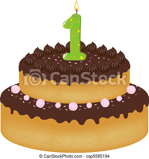 Birthday Cake With Candles - csp5585194