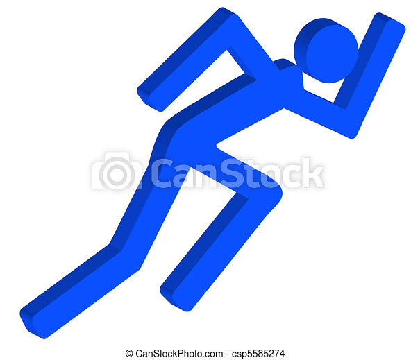 3D stick figure or person running in a hurry - csp5585274