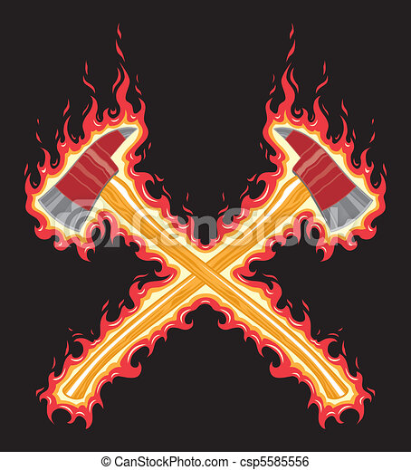 Flaming Firefighter Axe - csp5585556