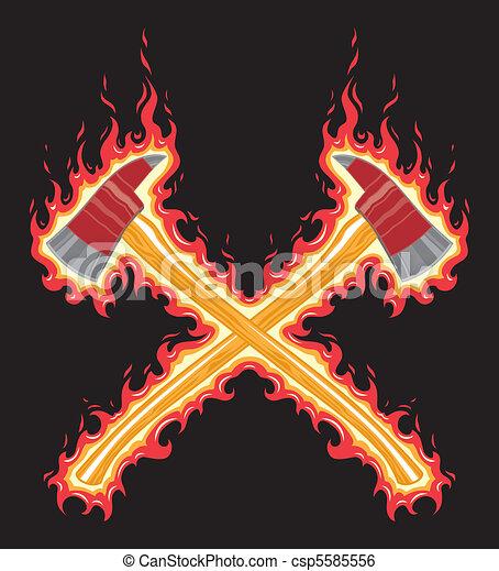 Flaming Firefighter Axe - csp5585556