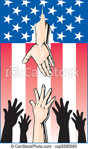 Hands Reaching for Government Help - csp5585560