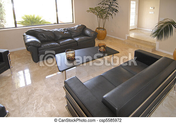 Stock Photo of Luxurious Living Room with a polished granite floor
