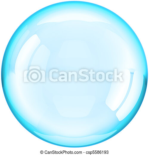 Water soap bubble ball colored cyan - csp5586193