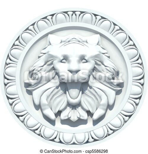 Vintage Lion Head Sculpture. Vector - csp5586298