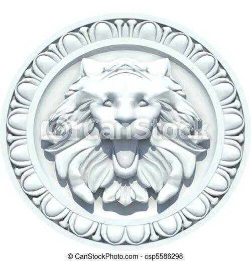 Vintage Lion Head Sculpture. Vector - csp5586298