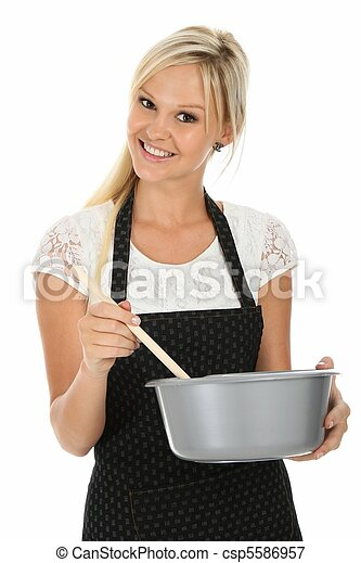 Lovely Blonde Cooking Woman - csp5586957