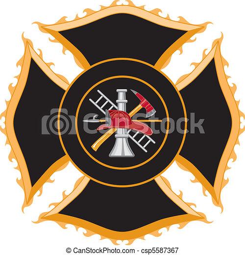 Firefighter Maltese Cross Symbol - csp5587367