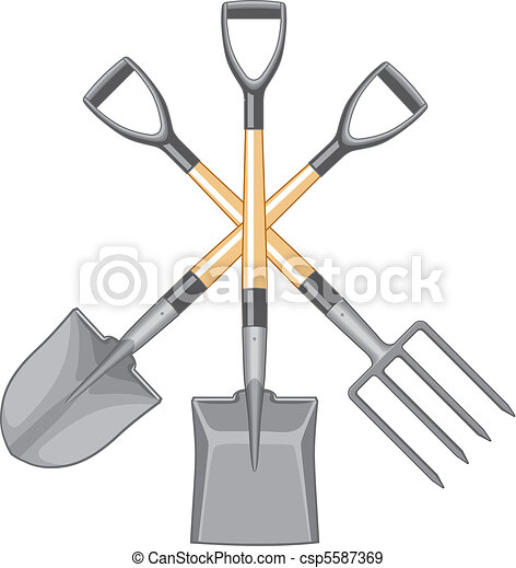 Shovel Spade and Forked Spade - csp5587369