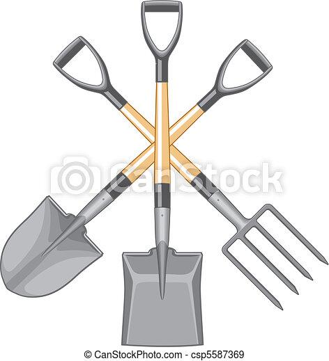 Shovel Spade and Forked Spade - csp5587369