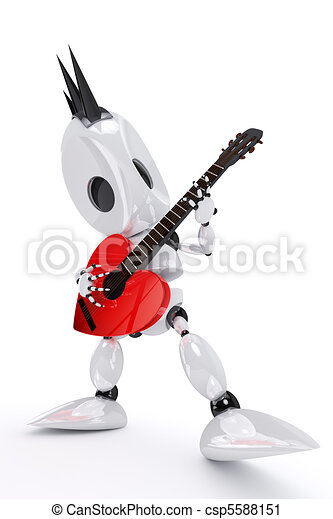 awesome robot rock star playing a heart shaped guitar - csp5588151