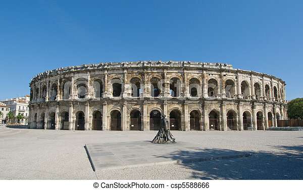 Arenas of Nimes,  Roman amphitheater in Nimes, France - csp5588666