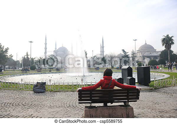 woman visit ancient istambul in turkey - csp5589755