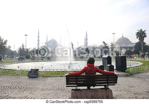 woman visit ancient istambul in turkey - csp5589755
