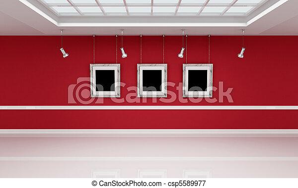 白色, 美術畫廊, 紅色 - csp5589977