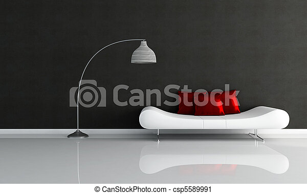 black and white minimalist lounge - csp5589991