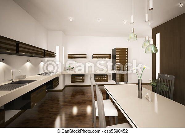 Interior of modern kitchen 3d render - csp5590452