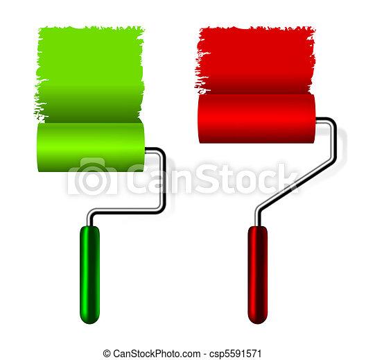 Clipart de peinture brosse rouleau peinture rouleau brosse csp55 - Comment nettoyer rouleau peinture ...
