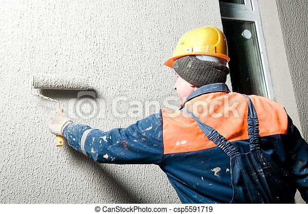 builder plastering facade wall - csp5591719