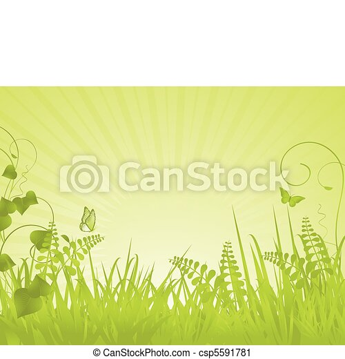 green tranquil spring background - csp5591781