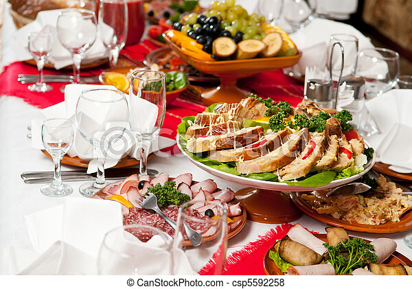 catering food table set decoration - csp5592258