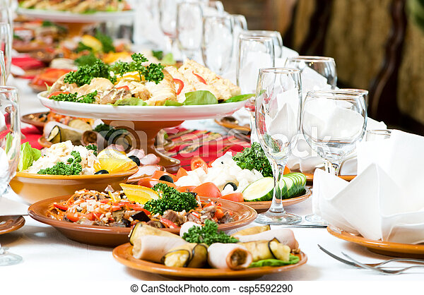 catering food table set decoration - csp5592290