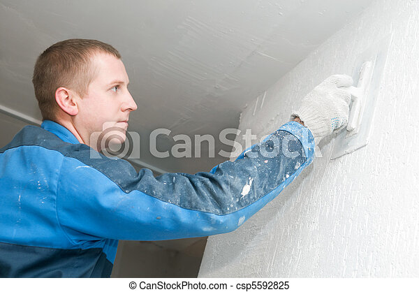 Plasterer at work - csp5592825